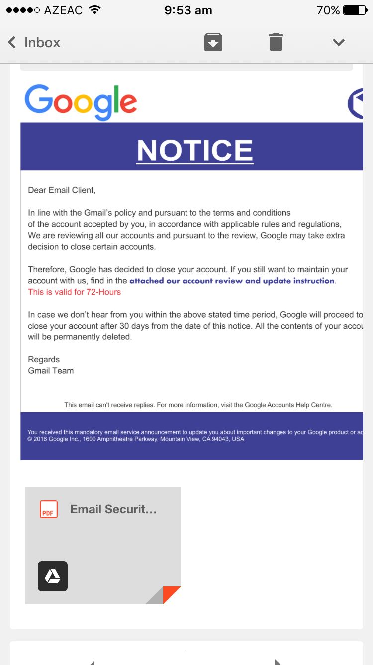 Account Closure Notice - Gmail Help